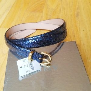 J.Crew Skinny Deep Purple Glitter Belt (Small)